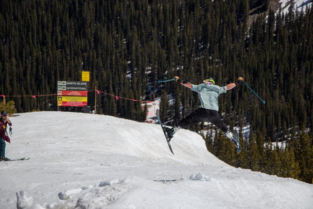 man doing ski jump at Arapahoe Basin