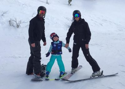 andy erika and harper skiing